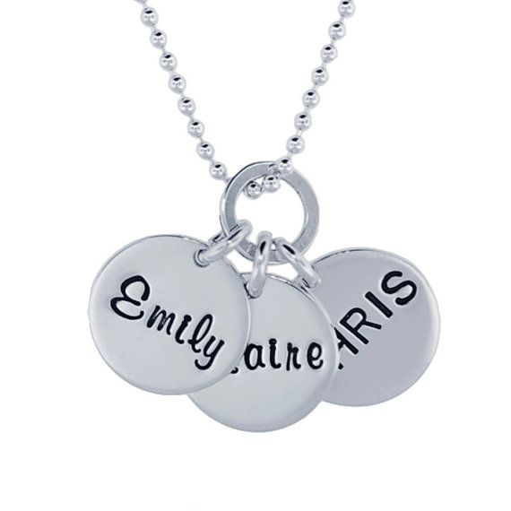Name Necklace Hand Stamped Initial Pendant Personalized Name Custom Engraved Family Jewelry Kids Names Rimmed Charms