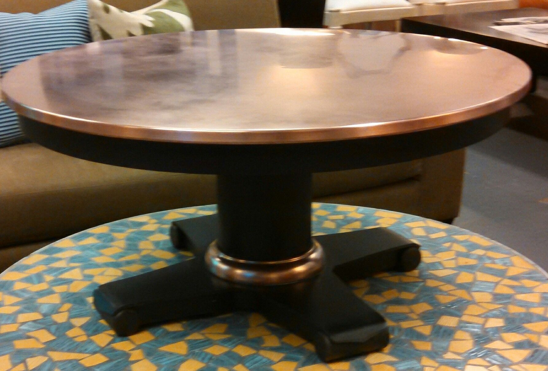 copper top coffee table crate and