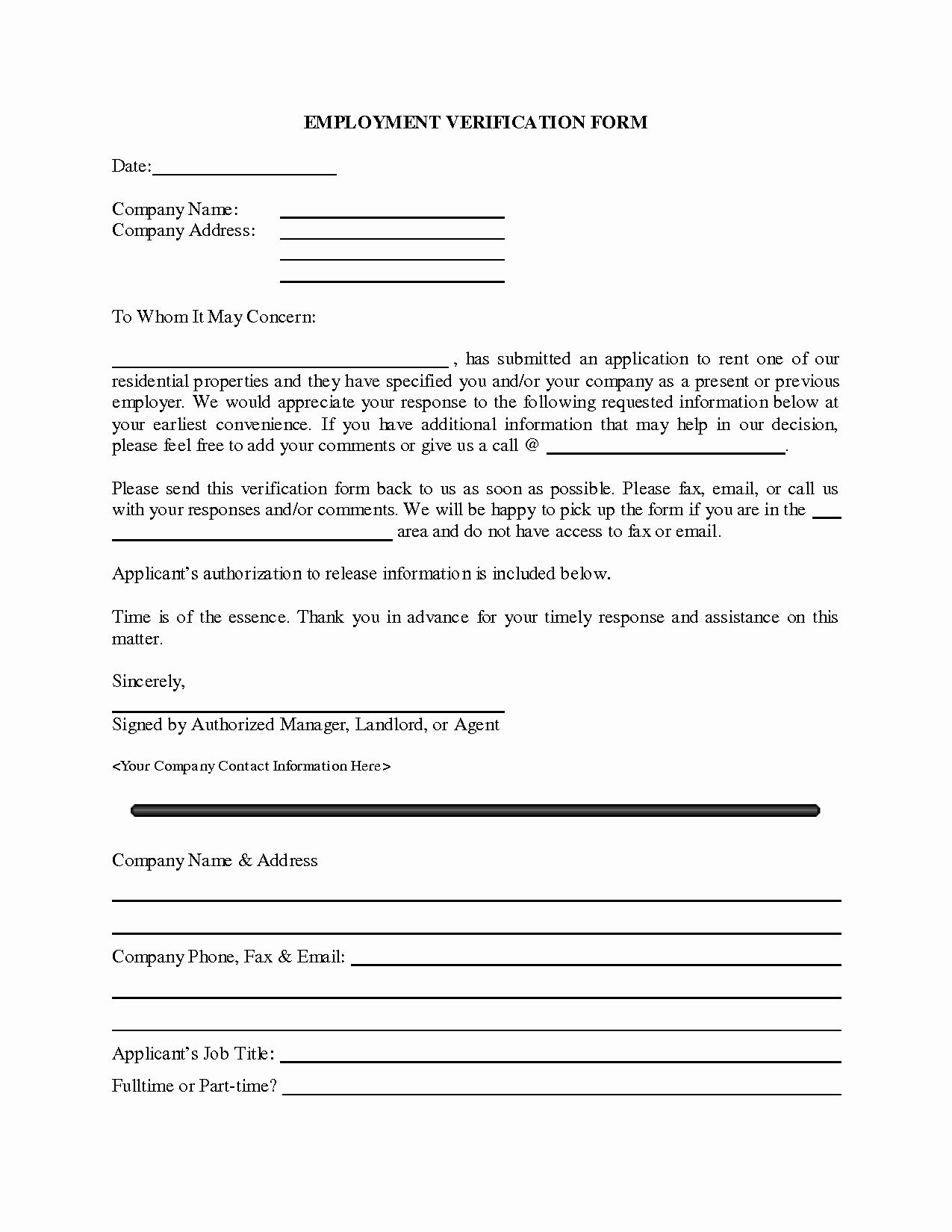 Employment Verification Form Template Fresh Generic Employment Verification Form Employment Form Sign In Sheet Template Sign Up Sheets