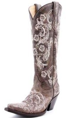 a177c5a8a34 Corral Western Cowgirl Boots Tall Brown with White Floral Stitching and  Studs
