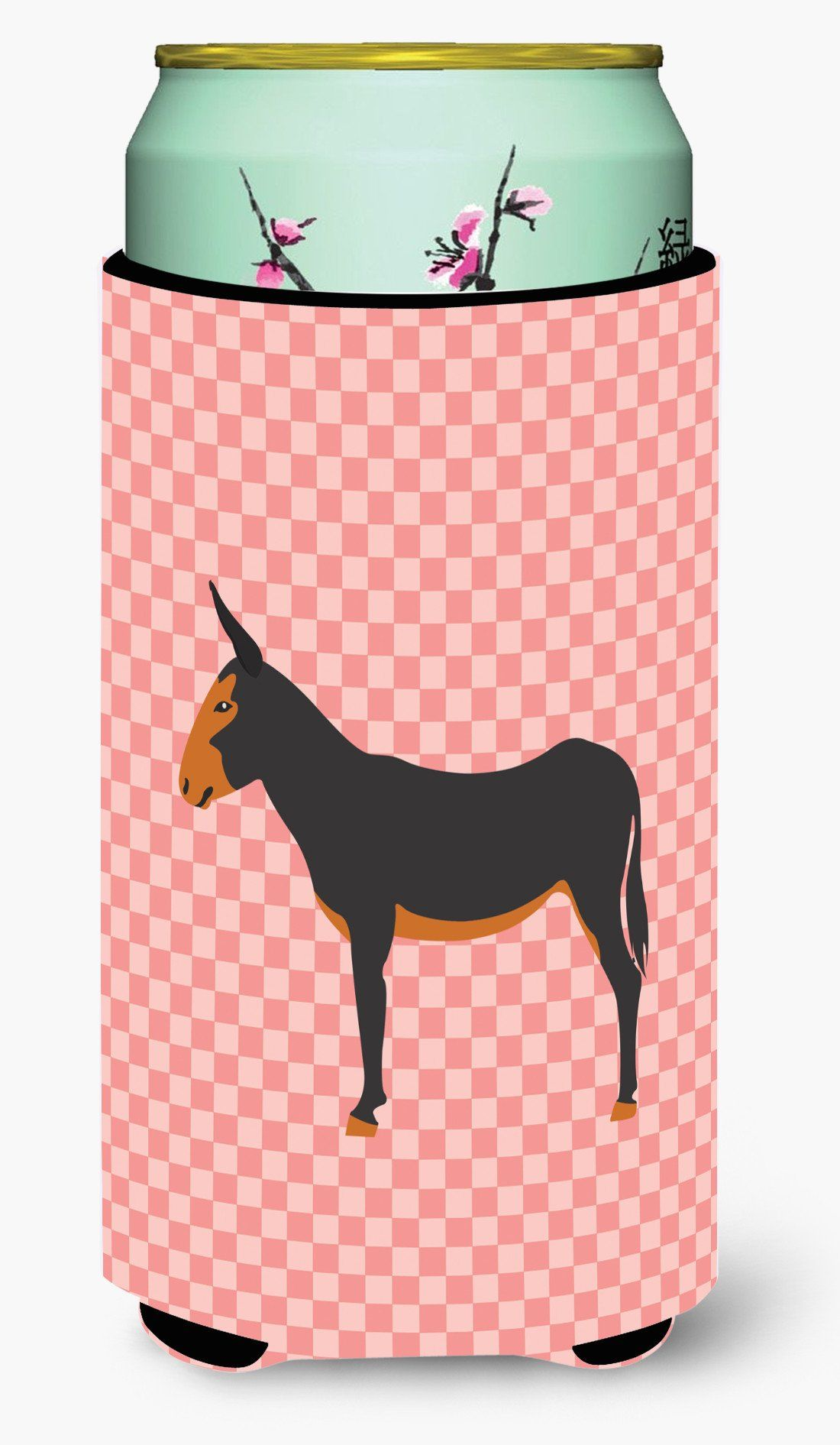 Catalan Donkey Pink Check Tall Boy Beverage Insulator Hugger BB7855TBC