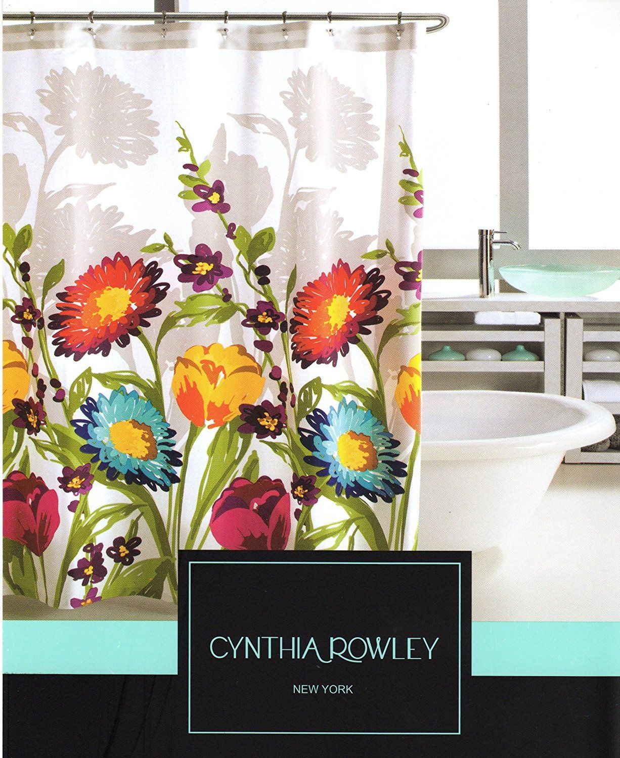 Amazon Com Cynthia Rowley Fiorina Floral Fabric Shower Curtain
