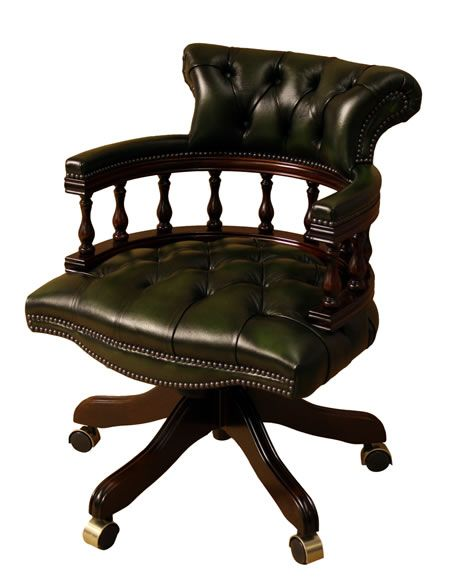 Beautiful Captains Chair In Mahogany Finish With Green Antique Leather