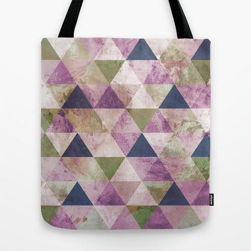 Blue, Green & Purple Triangle Geometric Design Tote Bag