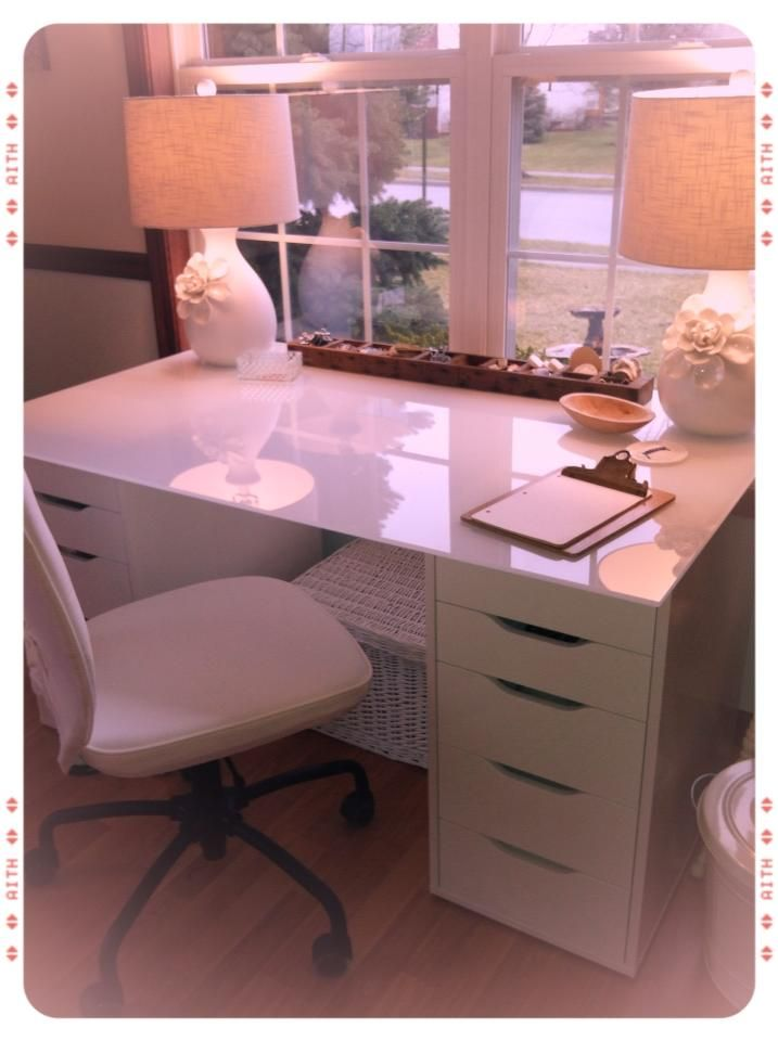 IKEA ALEX Drawer Units Paired With An IKEA Glass Kitchen Table Top To  Create A Desk