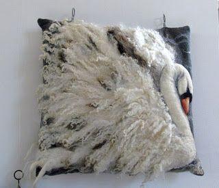 Wet felt/needle felt swan pillow cushion cover … | Pinteres…