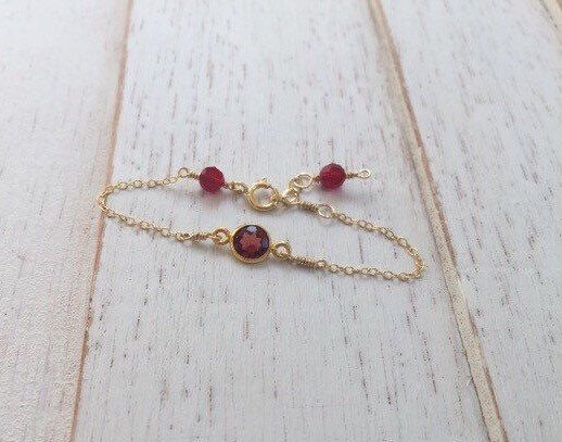 Gold and garnet Baby Bracelettoddler braceletinfant jewelry