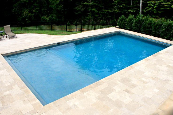 Simple, rectangular gunite concrete pool. | Geometric Pool Designs ...