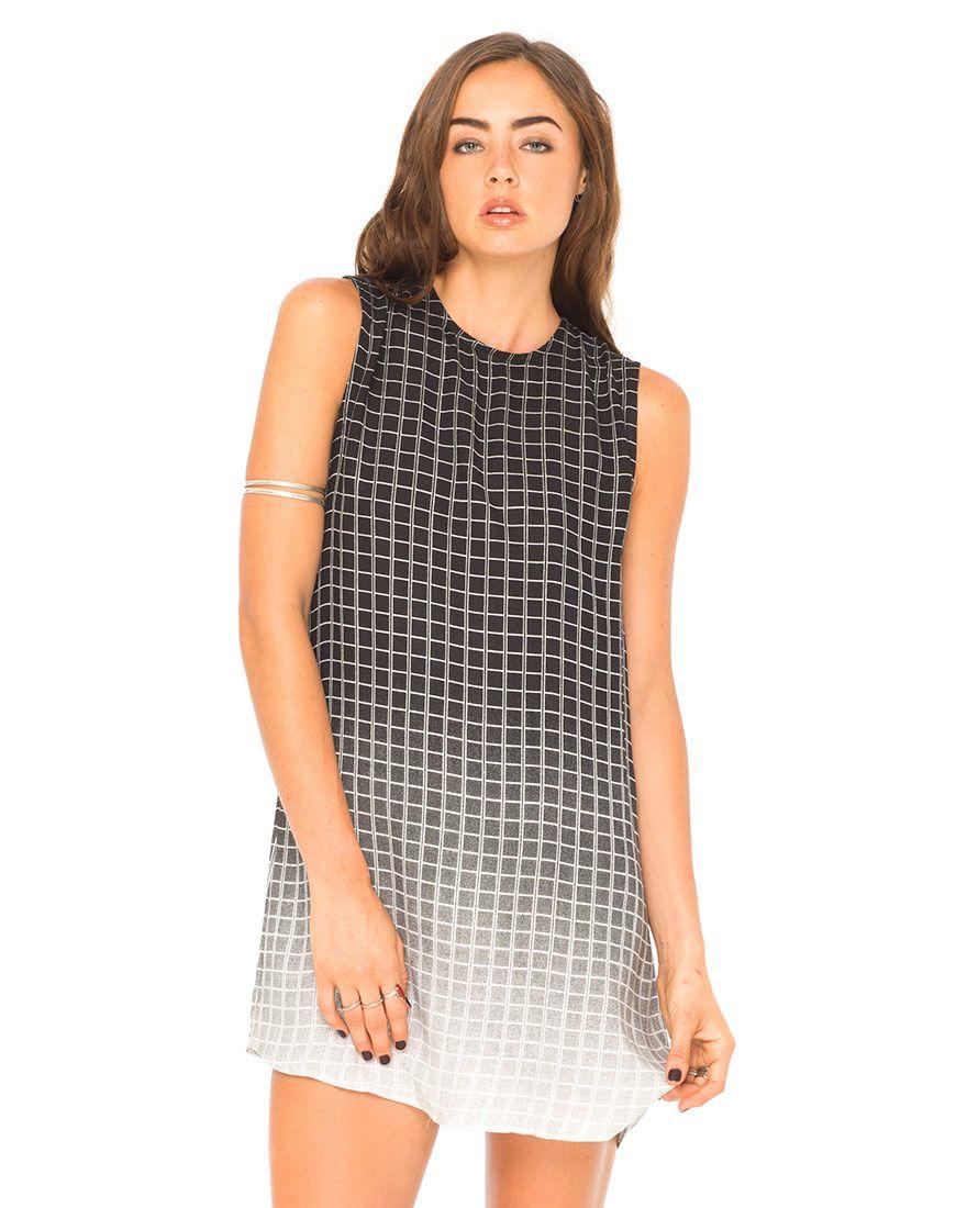 Motel Hollyanna Sleeveless T-Shirt Dress in Vertical Square, Top ...