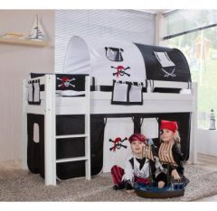 lit surelev cabane enfant avec habillage tissu noir et blanc lit pirate enfant pour jouer mar. Black Bedroom Furniture Sets. Home Design Ideas