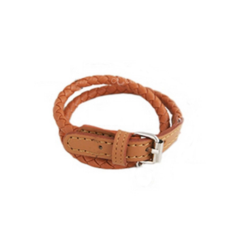brown braided buckle clasp leather bracelet