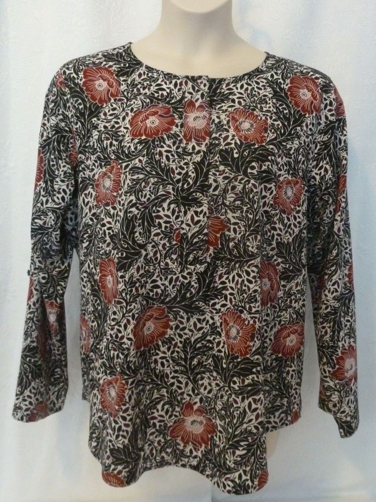 03481b82 NWOT Van Heusen Black Red White Floral Print Blouse Size XL #fashion  #clothing #shoes #accessories #womensclothing #tops (ebay link)