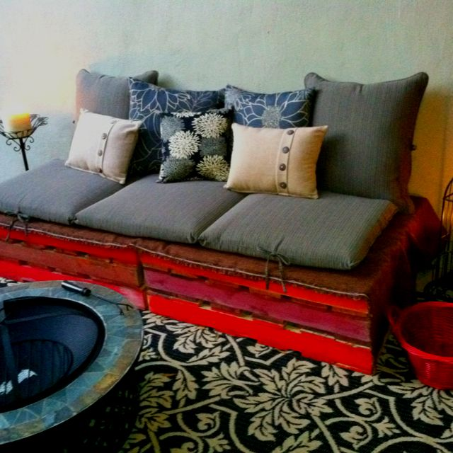 My pinterest inspired Pallet Couch! Hope Schachter designs ;-) pillows from Target, the FREE pallets from Home Depot!