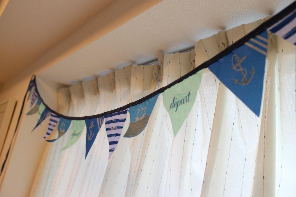 Blue and mintgreen flag garland. Marine taste. Baby's room decor.