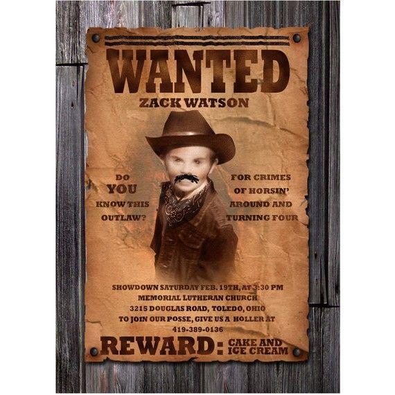 Wanted Poster Boy\'s Cowboy Birthday Invitation | Cowboy birthday ...