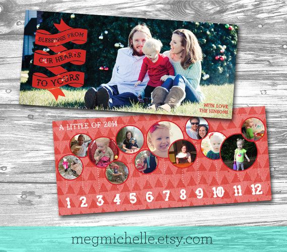 4x9 retro red holiday christmas timeline card double by