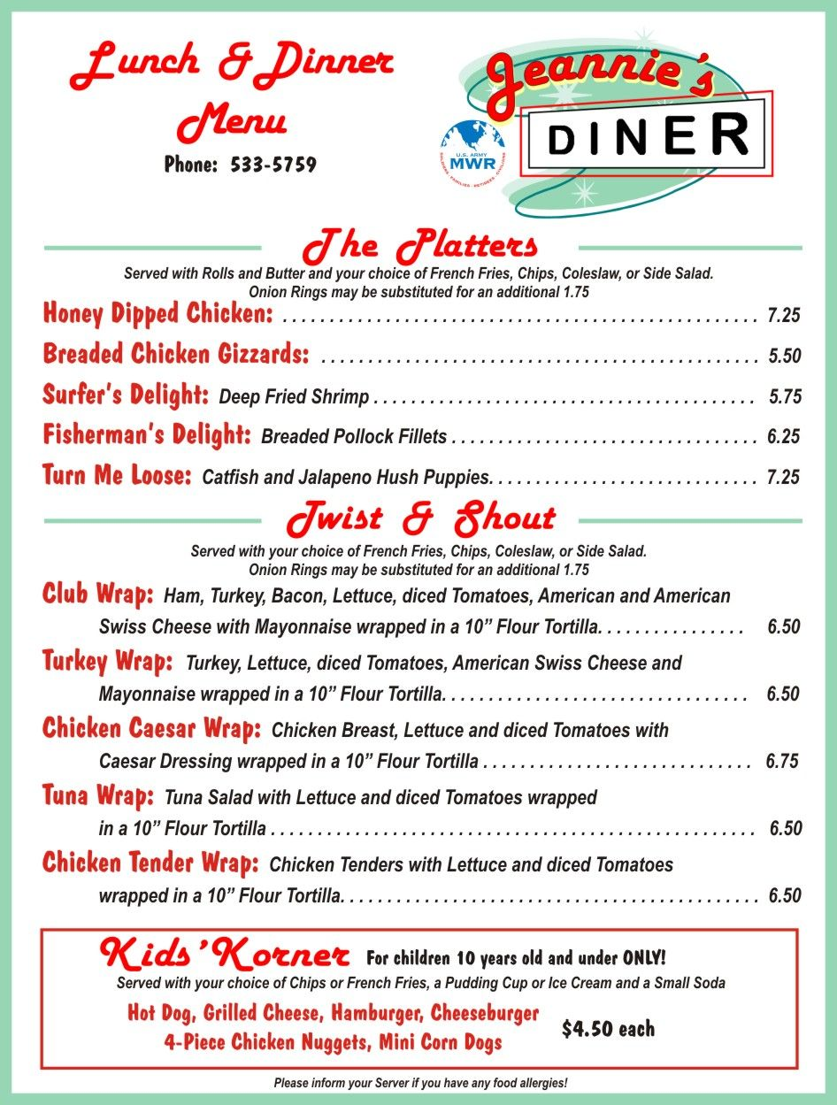 diner menus from the 50\'s and 60\'s | Fort Huachuca - Restaurants ...