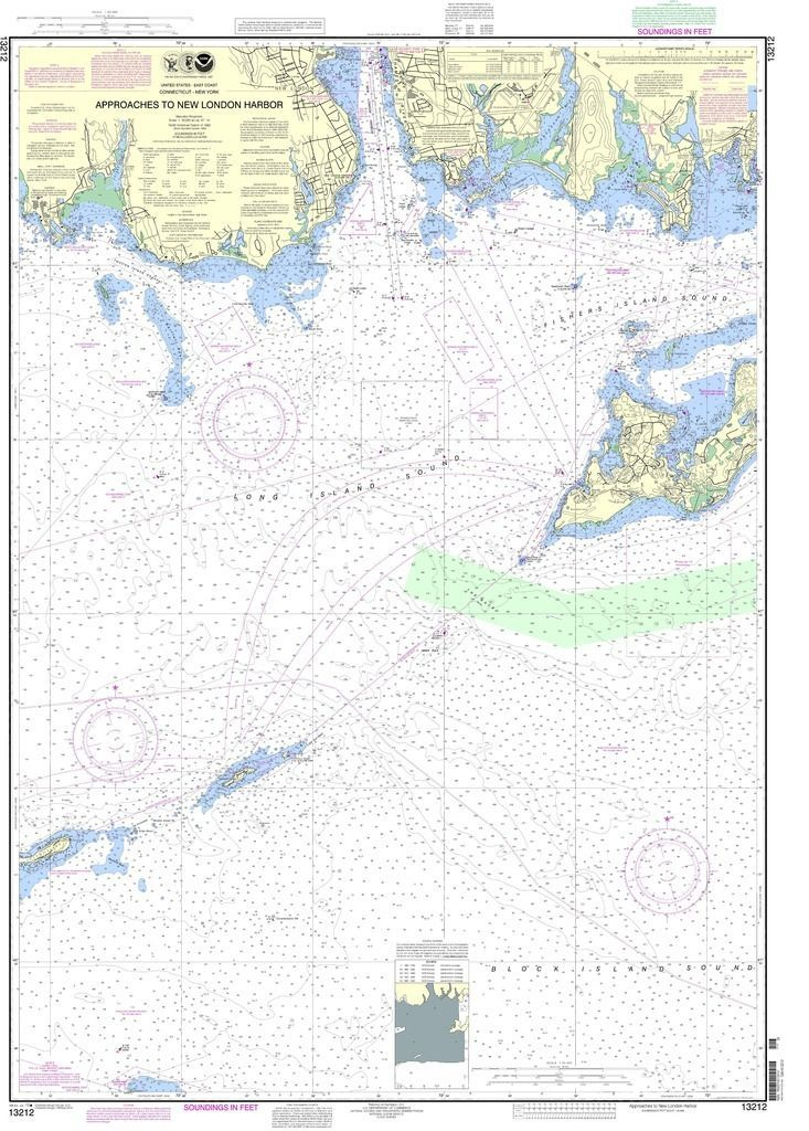 NOAA Nautical Chart 13212 Approaches to New London Harbor NOAA