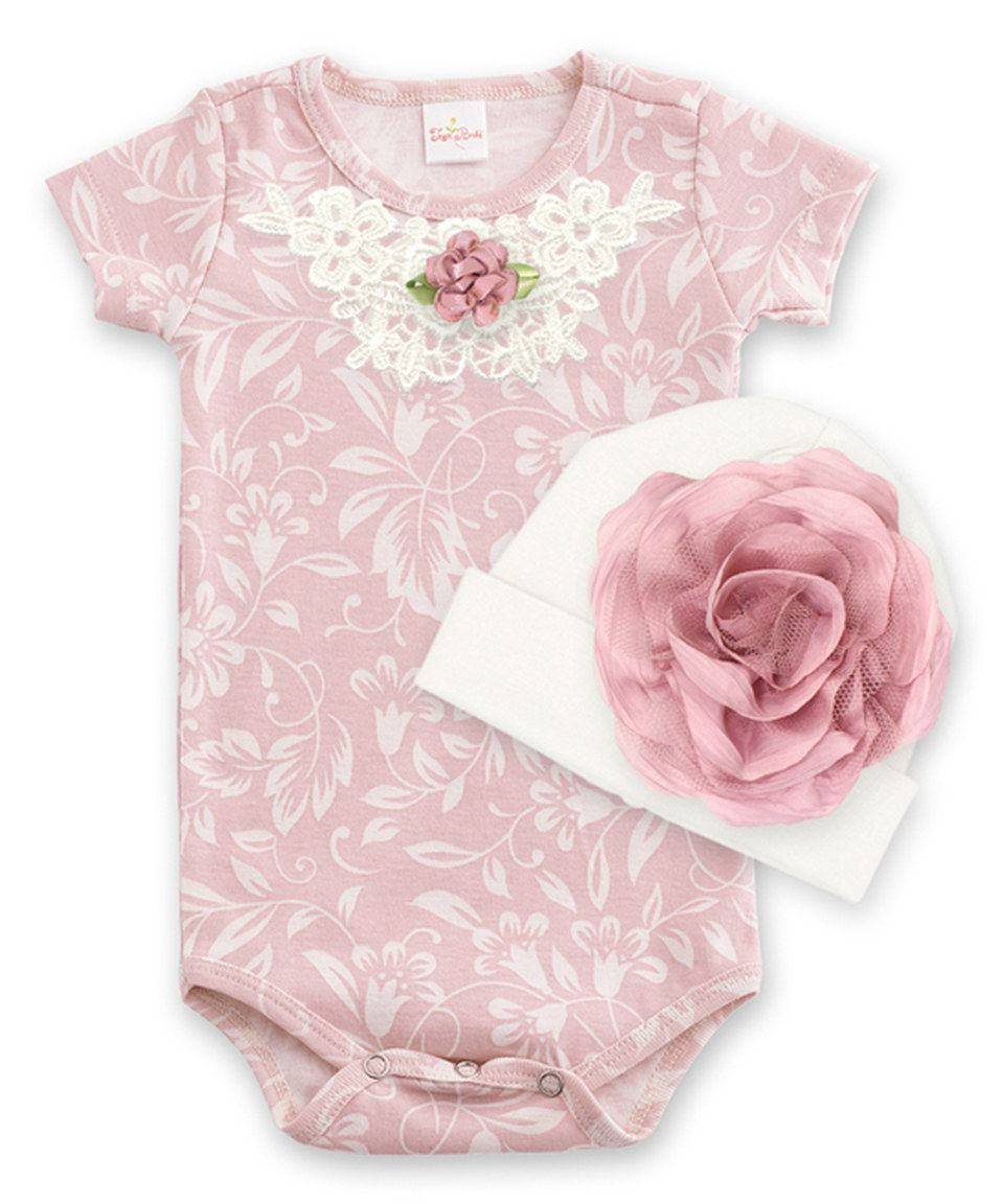 Tesa Babe Filigree & Ivory Rosette Lace-Accent Bodysuit & Beanie - Infant by Tesa Babe #zulily #zulilyfinds