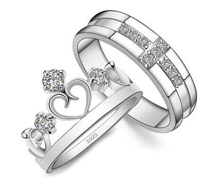 Perfect Cubic Zirconia Cross Wedding Band and Open Heart Crown Ring Set for Him and Her HR