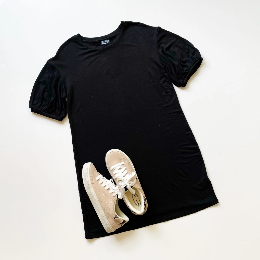 Scoop Balloon Sleeve T Shirt Dress And Quilted Sneakers Walmart Find In 2021 Shirt Dress T Shirt Dress Trendy Tshirts [ 1000 x 1000 Pixel ]