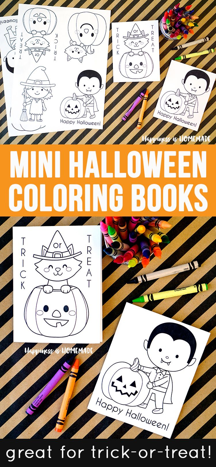 These cute mini Halloween coloring books are the perfect sugar-free treat to… #halloweencoloringpages
