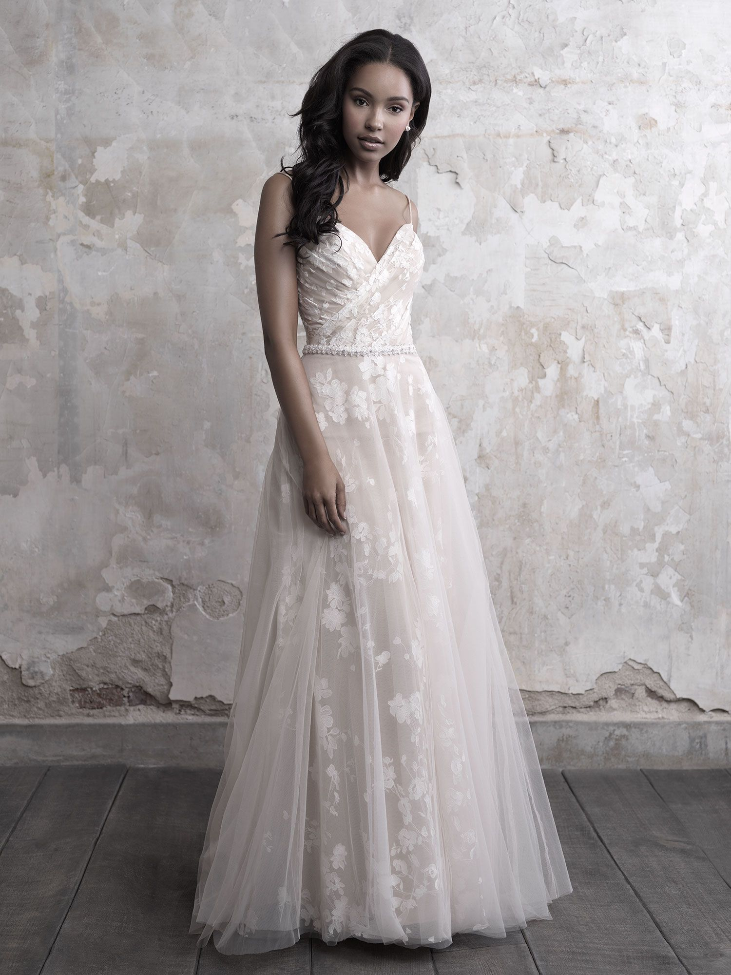 Spaghetti Strap Floral Lace And Tulle Aline Wedding Dress