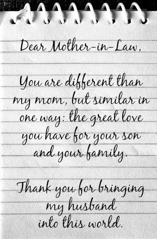 Dear mother in law - thank you for your son Happy Mother\'s ...