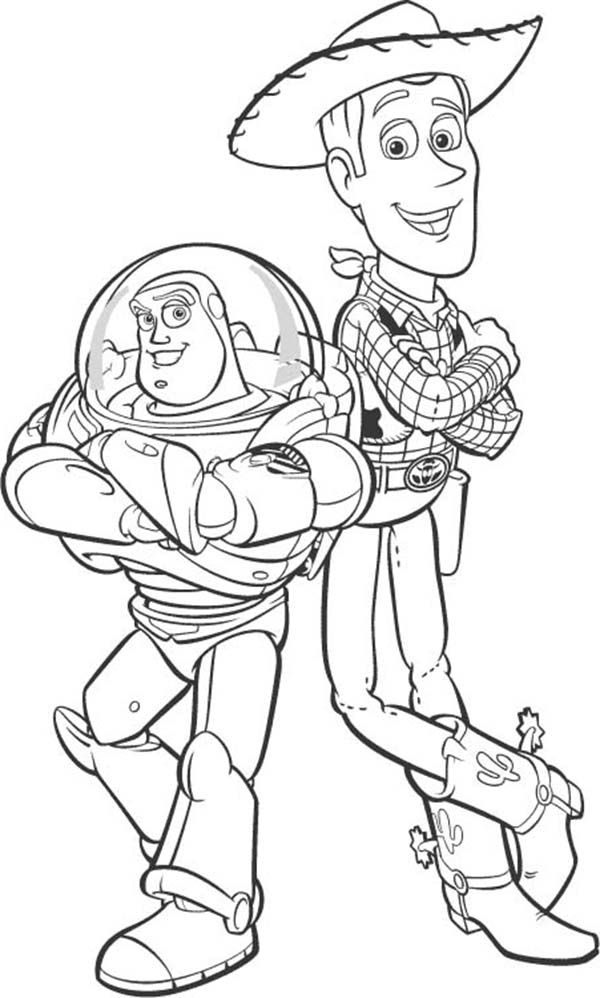 Woody, Buzz Lightyear and Sheriff Woody Coloring Page