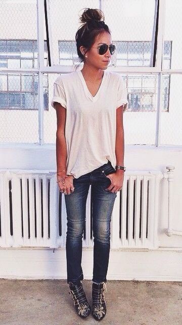 White tee and jeans and fancy shoes Strappy heels. Shades ...