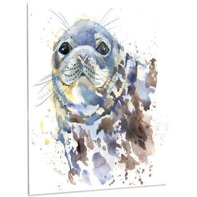 Designart Blue Marine Seal Watercolor Painting Print On Metal