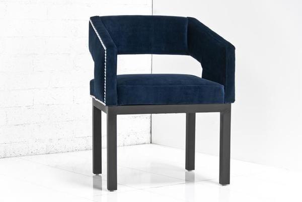 Enjoyable Open Back Chair In Navy Velvet Dining Chairs Blue Velvet Dailytribune Chair Design For Home Dailytribuneorg
