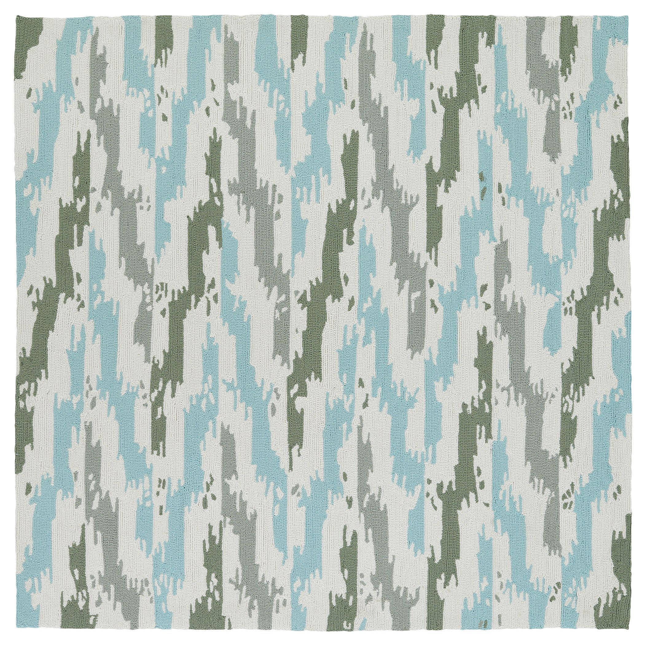 Seaside ivory and blue ikat indooroutdoor rug 79 x 79 square seaside ivory and blue ikat indooroutdoor rug 79 x 79 square by bombay home baanklon Gallery
