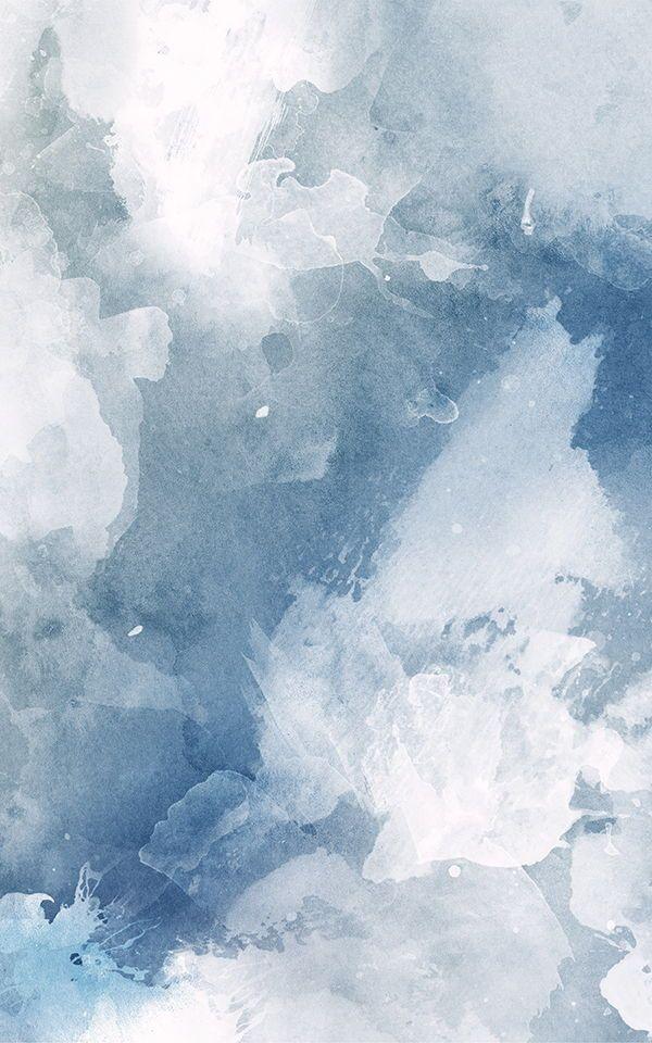 Blue & White Grunge Watercolor Wallpaper | Murals Wallpaper
