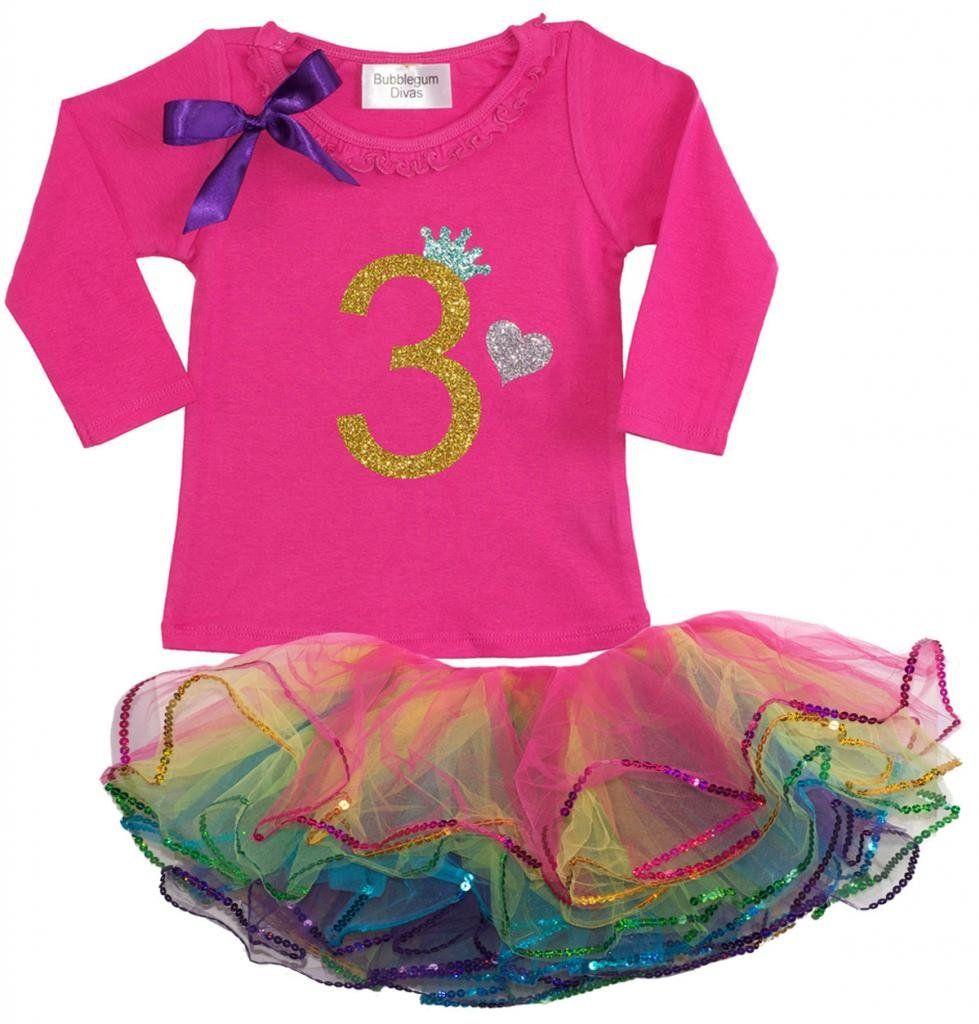 5ff2fc31f Bubblegum Divas Little Girls  3rd Birthday Rainbow Tutu Outfit Long ...