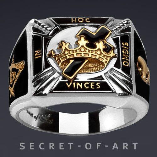 Knights Templar Masonic Silver Ring Black Enamel In Hoc 24k Gold