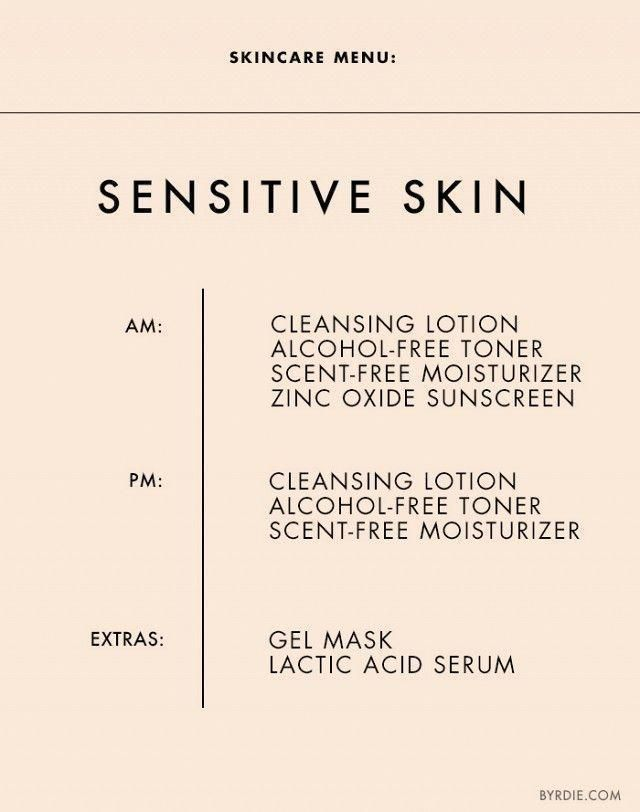 The+Ultimate+Daily+Skincare+Menu+for+Every+Skin+Type+via+@byrdiebeauty #sensitiveskincareroutinenatural #OrganicSkinCareRecipes #NaturalBeautySkincare #SkinCarePimplesHomeRemedies