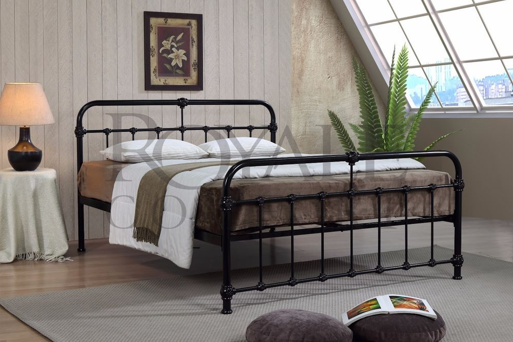 Best Mandy Double Metal Bed Frame Black Hospital Style Small 640 x 480