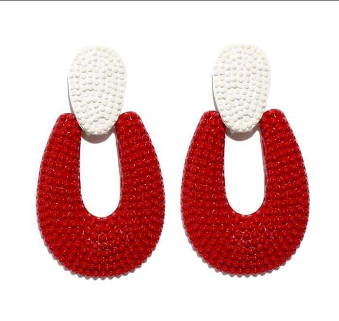 060eb9c87877 Aretes de moda en forma de u rojo y blanco  🔱 Aretes en forma de U ...