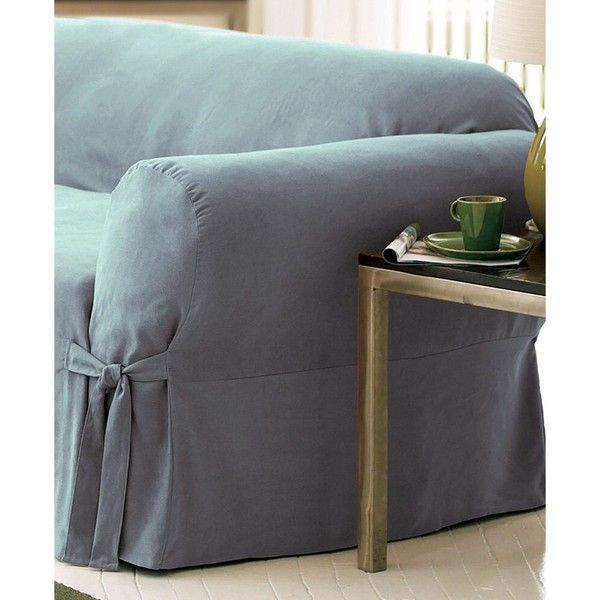 sure fit soft faux suede loveseat slipcover 60 liked on polyvore featuring home