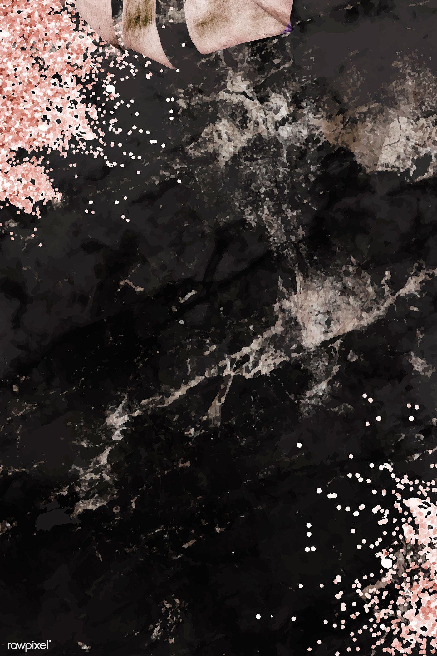 Download premium vector of Metallic monstera leaf pattern background