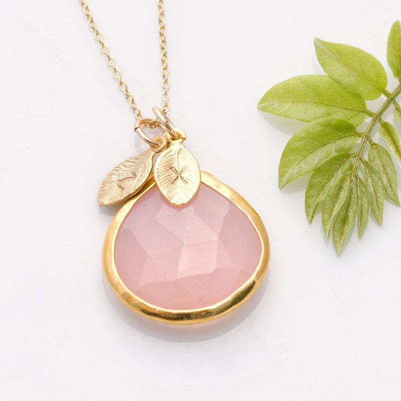 Mothers day gift pink chalcedony necklace october birthstone mothers day gift pink chalcedony necklace october birthstone jewelry bca personalized necklace customize initials gold necklace aloadofball Gallery