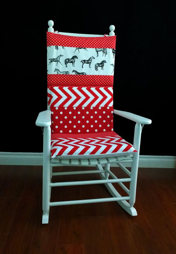 Rocking Chair Cushion Cover. For The Modern Cowgirl Inspired Nursery! Red  White Chevron Polka