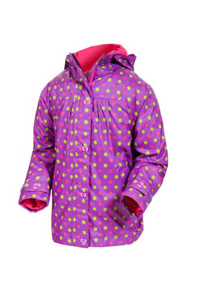 Target Dry Girls Heidi Jacket - Mauve Mini Dot Girls Lightweight Summer Raincoat Just because the British summer is traditionally wet and rainy doesn