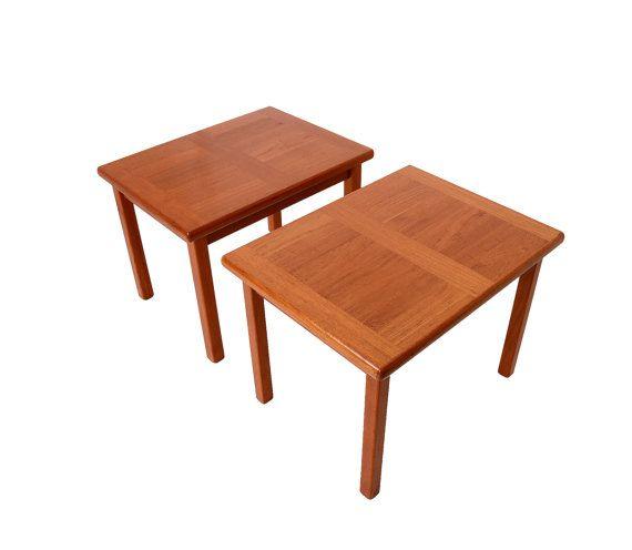 Teak Side Tables Made By A B J Danish Modern By Hearthsidehome Teak Side Table Side Table Teak