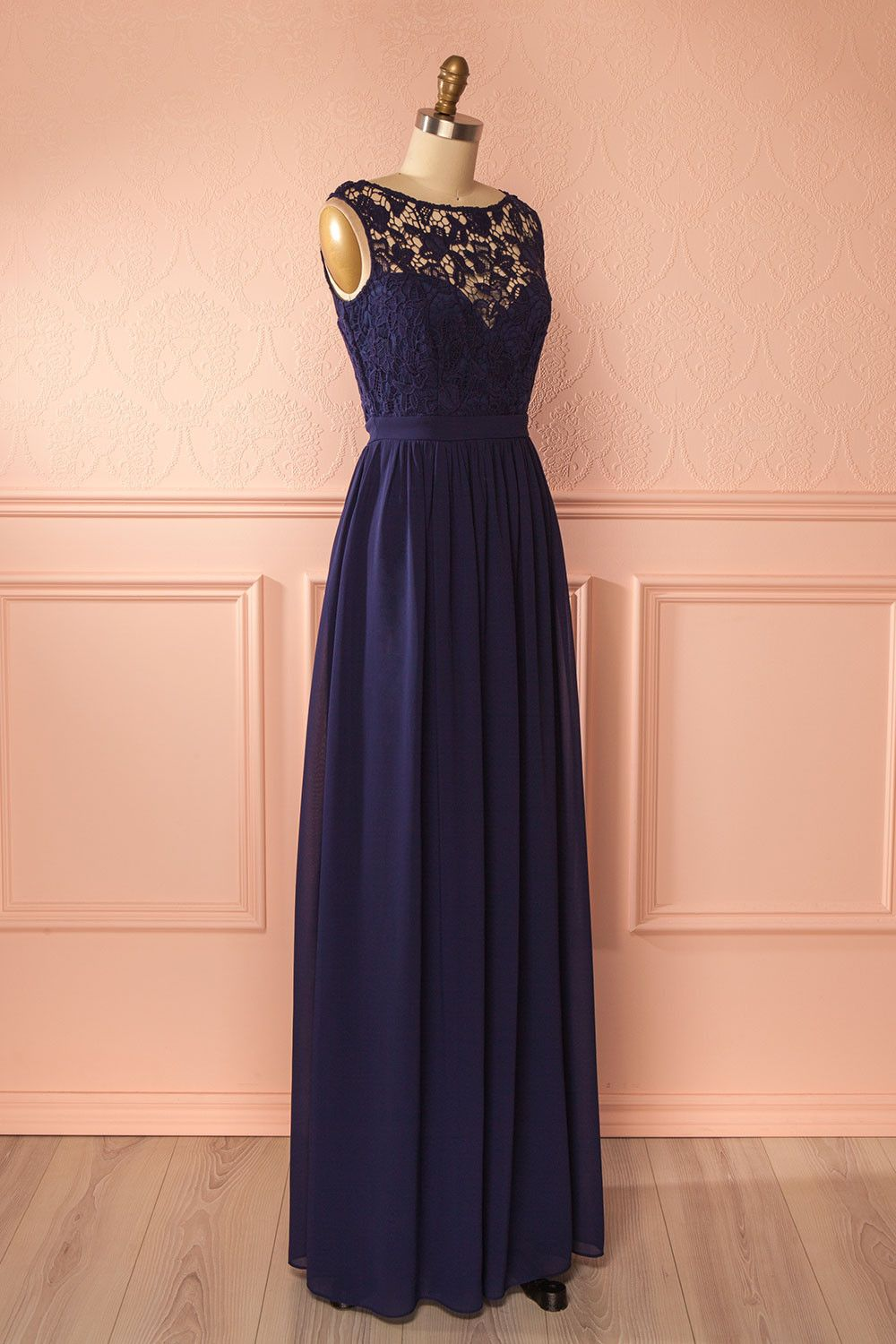 Kabby Night - Navy blue lace bust empire gown