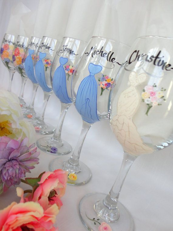 bd65f7f82c2 THE ORIGINAL Hand Painted Bridesmaid Wine Glasses by SAM Designs, $24.00