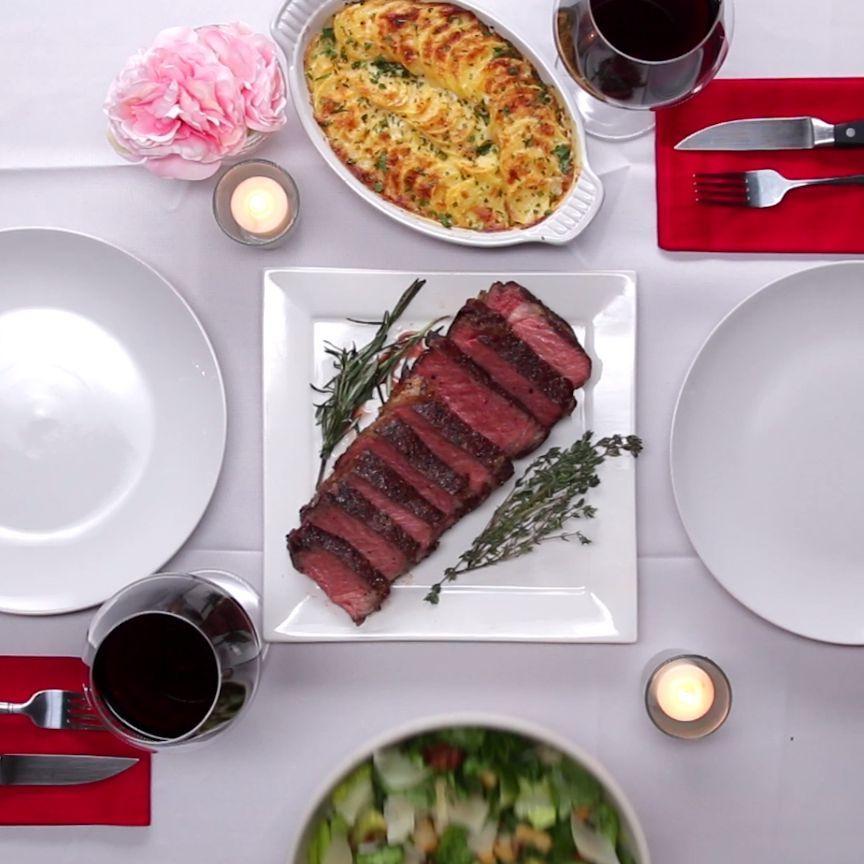 Steak dinner for two готовка еда, рецепты еды і бекон images