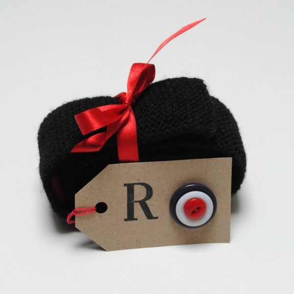 hand knitted mod tie gift wrapped with RAF mod buttons
