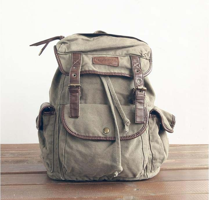 olive Leather Canvas Backpack  Canvas Backpacks by Leizistudio, $49.90